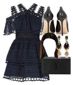 """Untitled #4942"" by olivia-mr ❤ liked on Polyvore featuring self-portrait, Jimmy Choo, Yves Saint Laurent and Oscar de la Renta"