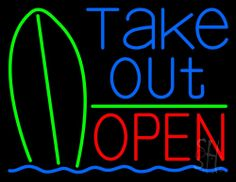 Take Out Bar Open 1 Neon Sign 24 Tall x 31 Wide x 3 Deep, is 100% Handcrafted with Real Glass Tube Neon Sign. !!! Made in USA !!!  Colors on the sign are Blue, Green And Red. Take Out Bar Open 1 Neon Sign is high impact, eye catching, real glass tube neon sign. This characteristic glow can attract customers like nothing else, virtually burning your identity into the minds of potential and future customers.