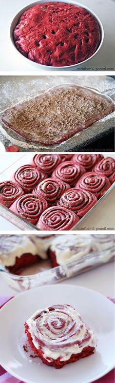 Red Velvet Cinnamon Rolls for Valentine's Day Breakfast for the one you love! - these amazing cinnamon rolls start with red velvet cake mix! Just Desserts, Delicious Desserts, Dessert Recipes, Yummy Food, Cake Recipes, Slow Cooker Desserts, Red Velvet Recipes, Red Velvet Cake Mix, Macaron