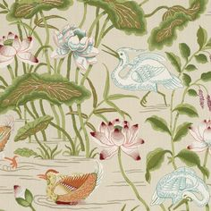 Set of 2 Schumacher Lotus Garden Designer Lumbar Pillow Cover in Colorway Parchment, Chinoiserie Lotus Pillow Covers 11 x 19 Inches Lotus Garden, Chinoiserie Motifs, Chinoiserie Fabric, Thing 1, Tropical, Fabric Wallpaper, Lotus Wallpaper, Wallpaper Display, Mobile Wallpaper