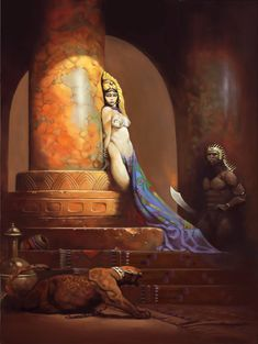 Egyptian Queen - Frank Frazetta Tribute by richardhanuschek on DeviantArt Frank Frazetta, Egyptian Queen, Pop Culture Art, Sword And Sorcery, Boris Vallejo, Arte Horror, Science Fiction Art, Pulp Art, Fantastic Art