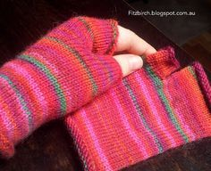Fingerless camping mittens made from sock wool.  Free knitting pattern