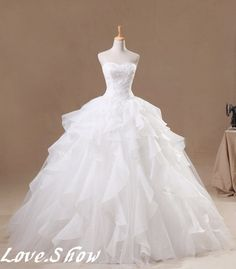 2013 New White/Ivory Ball Gown Dress Long Wedding Bridal gowns dress