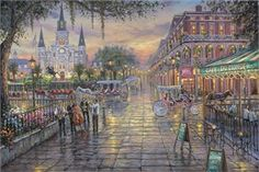 """Robert Finale Hand-signed and Numbered Limited Edition Hand-Embellished Giclee on Canvas:""""Jackson Square, New Orleans"""" - New Arrivals"""