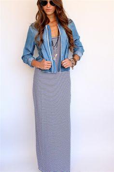 Splendid White + Navy Stripe Maxi Dress at Rosie True