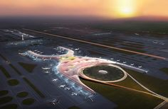 Com 555 mil metros quadrados, será um dos maiores aeroportos do mundo. Concebido pela equipe Foster + Partners Engenharia, o projeto revoluciona a concepção de aeroporto