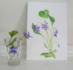 Watercolor Painting Flower Painting Botanical Painting Violets Purple Flowers Original Watercolor Botanical. $36.00, via Etsy.