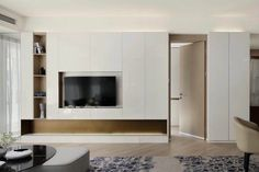 Tv Console Design, Tv Wall Design, House Design, Residential Interior Design, Interior Design Living Room, Living Room Designs, Living Room Wall Units, Living Room Cabinets, Modern Tv Wall Units