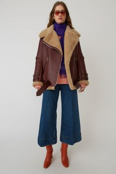 Acne Studios Velocite burgundy/beige is a thick, soft shearling jacket with straps and a belt in calf leather. Acne Shearling Jacket, Acne Studios, Sheepskin Coat, Beige Coat, Outerwear Women, Mode Style, 70s Fashion, Jacket Style, Everyday Outfits