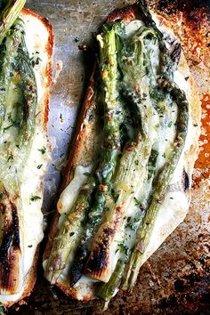 Tartine-style asparagus + spring onion croque monsieur