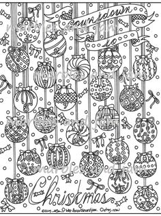 Advent Christmas Coloring Page for adult coloring by MarblesAndJam