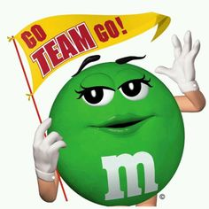 Rooting for her favorite team. Favorite Candy, Favorite Color, M&m Characters, Fictional Characters, House Of M, M Image, M M Candy, Melt In Your Mouth, Green Life