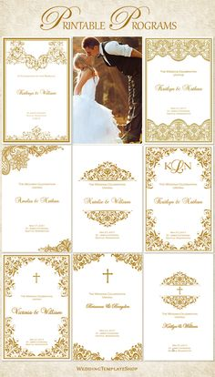 Wedding Program Templates, Printable DIY, Gold.