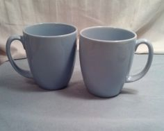 Corelle Stoneware Baby Blue Mugs, set of 2, coffee, tea Ex. Cond.  #Corelle