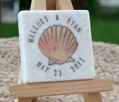 Coral Seashell Save the Date Magnets, Wedding Favors, Set of 25 (I actually like this. Cute and easy to keep.)