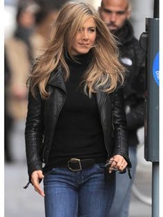 Leather Biker Jacket - 20 Timeless Winter Staples........Literally the perfect transition coat, a leather jacket is surprisingly warm, without being bulky. Whether sleek like Jennifer Aniston's or featuring all the biker bells and whistles, it instantly adds street style cred to your look.