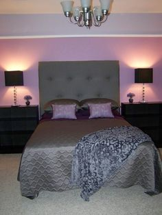 Black and Purple--- I like the lighting and position of the bed