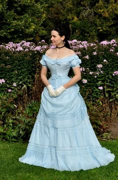 A lovely reproduction of a c. 1870s-80s ballgown.