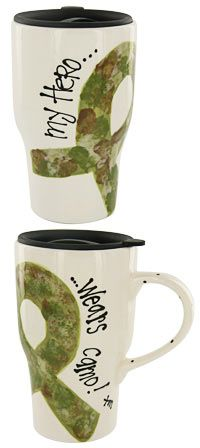 My Hero Wears Camo Travel Mug $25