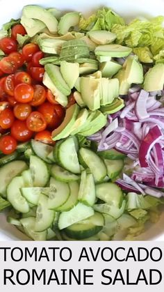 This Romaine Tomato Avocado Salad Recipe is a simple, light and delicious salad. Romaine lettuce with tomatoes, avocados and cucumbers with a healthy homemade dressing. Easy salad to prepare for any occasion. for parties Romaine Tomato Avocado Salad Avocado Tomato Salad, Avocado Salad Recipes, Best Salad Recipes, Chicken Salad Recipes, Healthy Dinner Recipes, Vegetarian Recipes, Cooking Recipes, Vegetable Salad Recipes, Salad With Avocado Dressing