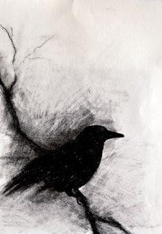 Raven on a Branch ORIGINAL Charcoal Drawing Gothic Halloween Wall Art Bird…
