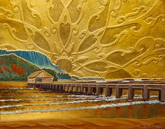 Troy Carney - Hanalei Splendor, oil, gold on hand cut bas-relief on wood. Hawaiian Art, Zentangle Drawings, Water Art, Surf Art, Arts And Crafts Projects, Book Illustration, Love Art, Art Images