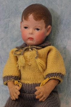 "17"" stuffed cloth Doll I, with ""frog hands,"" Germany, 1910, by Käthe Kruse."