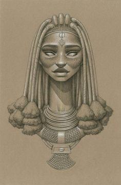 """Sara Golish est une artiste canadienne résidant à Toronto. Pour marquer le début de l'été, elle a réalisé 10 portraits de déesses africaines du soleil dans une série intitulée """"Sundust"""". Découvrez en images ses oeuvres dessinées au fusain !"""