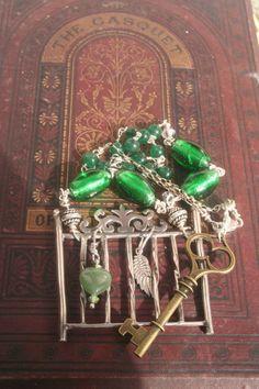 Narrative jewelry Assemblage jewelry Fairytale jewelry Bird Jewelry, Heart Jewelry, Key Jewelry, Statement Jewelry, Silver Jewelry, Jewellery, Celtic, Vintage Keys, Vintage Style