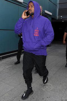 Kanye West wearing Fan Merchandise I Feel Like Pablo Hoodie, Adidas Yeezy Boost 350 Season 3