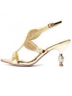 Gold Bridal Rhinestone Stilettos