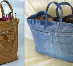 Go shopping with denim shopping bag - 20 Amazing DIY Denim Ideas Blue jeans repurposed as a tote bag. [I made a clothespin bag out of a pair. from your old jeans - mine would be a mych larger bag - can you say junk in the trunk? Great way to recycle jeans Artisanats Denim, Denim Purse, Denim Tote Bags, Quilted Tote Bags, Diy Tote Bag, Jean Crafts, Denim Crafts, Denim Ideas, Diy Jeans