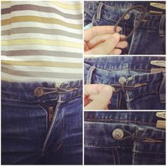 Use a hair tie or rubber band as an expander for your jeans. | 16 Brilliant Hacks That Will Make Your Pregnancy A Breeze
