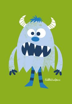 Light blue monster. Bubble Gum Years - ETSY