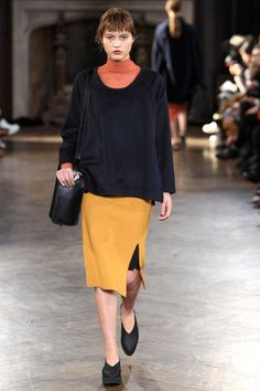 Creatures of Comfort | Fall 2014: Oversized top over Pencil. Orange, Mustard, Ink and Black.