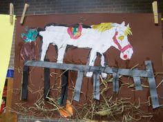 Stal van Americo. Hoofd van Americo is er al. Kinderen schilderen paard verder. Daarna uitknippen en stal maken.
