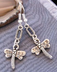 DRAGONFLY Butterfly Silver Plated KITSCH Art by BusyBeeBumbleBeads