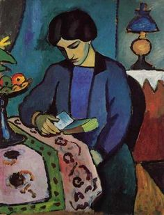 Woman of the artist (reading) - by Auguste Macke