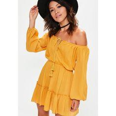Missguided Yellow Ruffle Hem Tassel Waisted Bardot Dress ($54) ❤ liked on Polyvore featuring dresses, rayon dress, tassel dress, tassle dress, mustard dress and mustard yellow dress