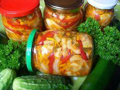 Monia miesza i gotuje: Pyszna sałatka wielowarzywna Pickles, Cucumber, Shrimp, Stuffed Peppers, Canning, Meat, Vegetables, Recipes, Food