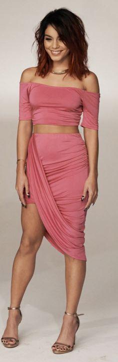 Vanessa Hudgens models a pink dress in the Bongo Spring 2015 campaign