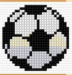 Cross Stitch Charts Soccer Ball) - Free cross-stitch design 'Soccer Ball', 29 x 29 stitches 4 colors Cross Stitch Charts, Cross Stitch Designs, Cross Stitch Patterns, Cross Stitching, Cross Stitch Embroidery, Beading Patterns, Embroidery Patterns, Bracelet Patterns, Chart Design