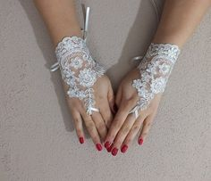 Wedding Gloves lace gloves Fingerless Gloves ivory by geranum Lace Gloves, Fingerless Gloves, Wedding Bride, Ivory Wedding, Wedding Gloves, Prom Dresses, Wedding Dresses, Wedding Inspiration, Gowns