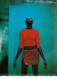 Model Alek Wek in the December 2007 issue of Vogue Paris. Photo by Jean-Baptiste Mondino.