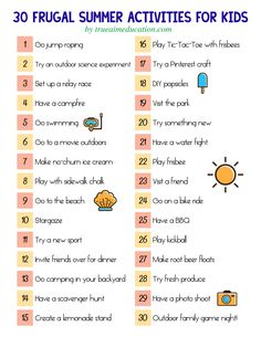 30 Frugal Summer Activities + A Free Printable!