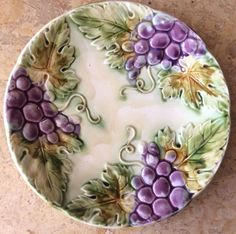 French Majolica Grapes Decorative Plate : french decorative plates - Pezcame.Com