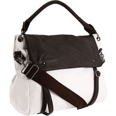 cute messenger bag and like the white and espresso combination