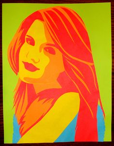 Construction Paper Art by me using scissors, elmers glue, and neon paper. Portrait of Bianca Westcott