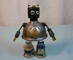 PEANUT  Found Object Steampunk Robot  Sculpture Assemblage. 89.00, via Etsy.