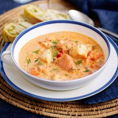 Lchf, Cheeseburger Chowder, Curry, Dessert Recipes, Food And Drink, Menu, Soup, Healthy Recipes, Fish